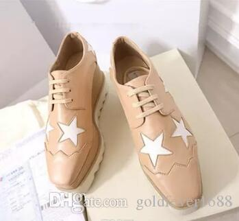 new Women Pink Stella Mccartney Shoes with Red Stars Genuine Leather White Sole Wedges Platform