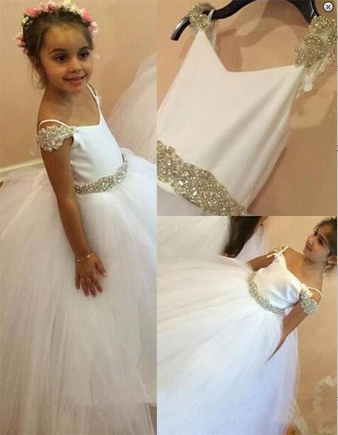 Modern Spaghetti Straps Long White Ball Gown Flower Girl Dress with ...