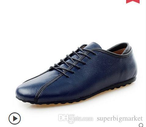 Bahar için Hakiki Deri Chrismas hediye Erkek Ayakkabı 2015 Casual Sneakers Erkekler için Yaz Moda Deri Sneakers Adam Daireler