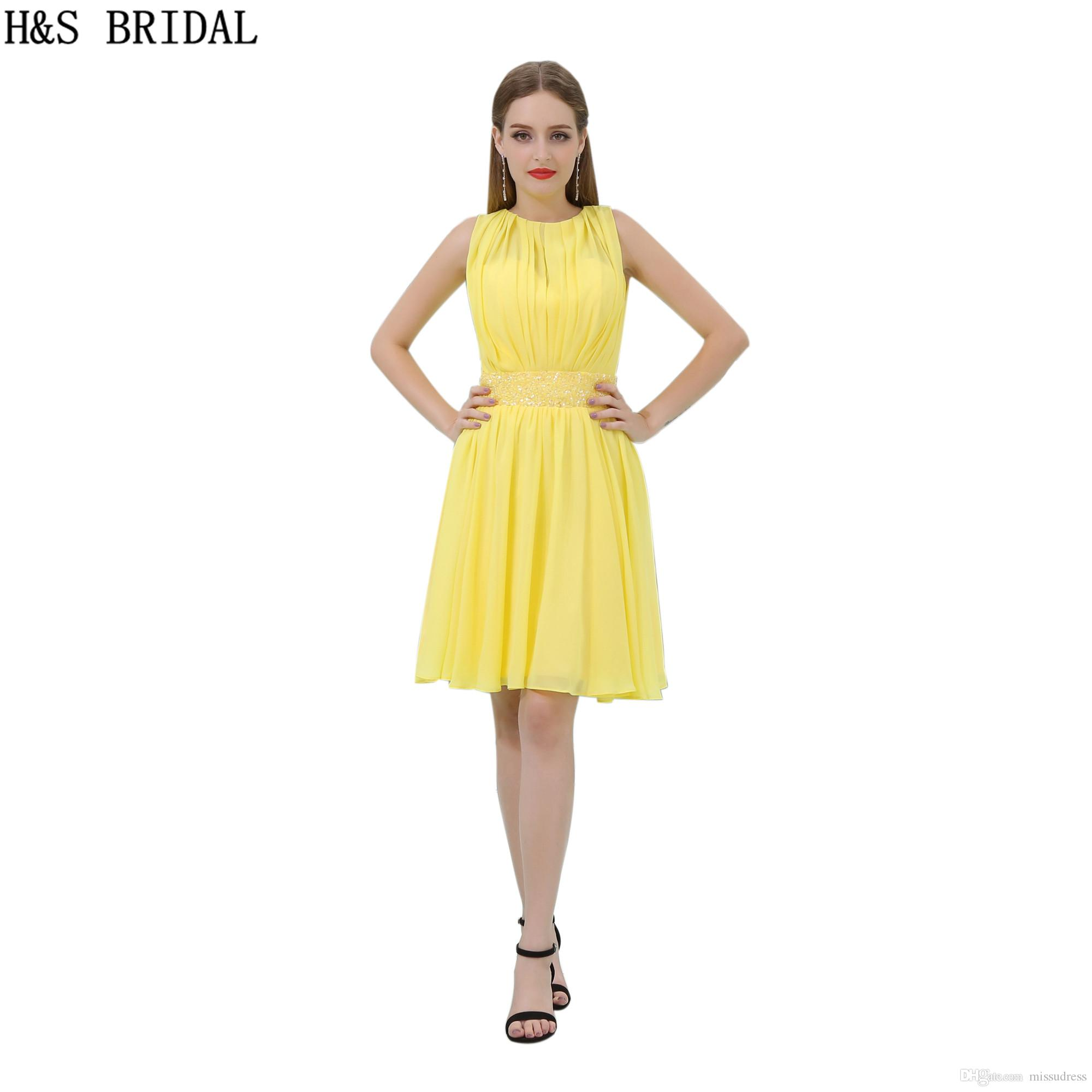 6670945be99 Short Chiffon Homecoming Dresses Beading Yellow Sheer Neck Cocktail Dress  Charming Girls Cheap Party Gowns B012 Homecoming Dresses Columbus Ohio  Homecoming ...