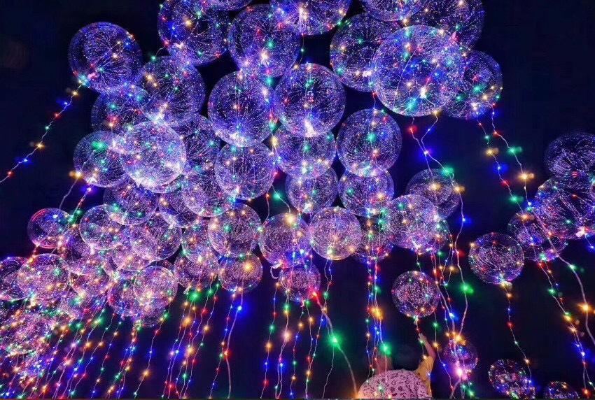 Großhandel 14 Zoll Klare Folie Helium Bobo Ballons Mit Kupfer Led ...