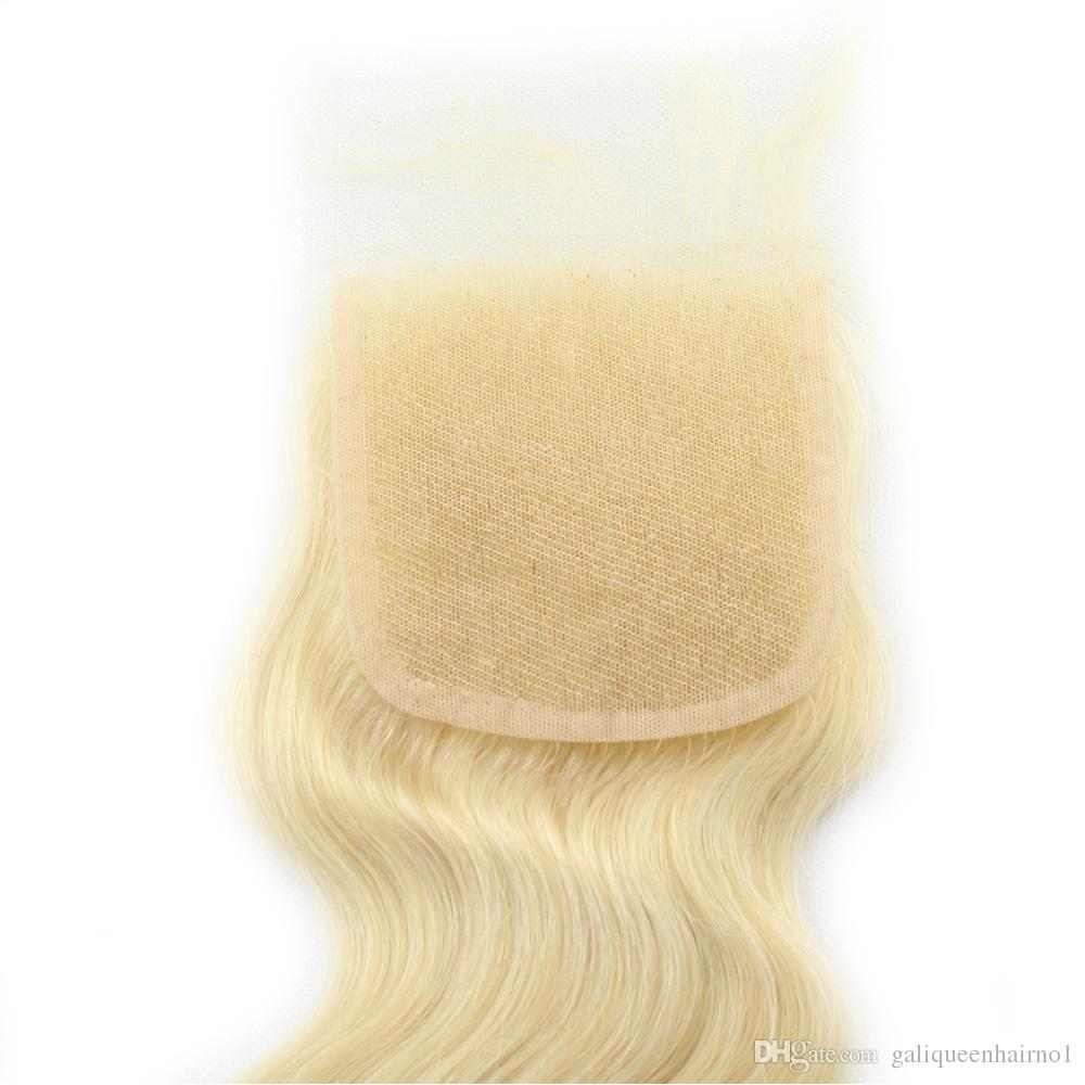Platinum Blonde 613 Body Wave Lace Closure with Baby Hair Bleached Knots Remy Human Hair 4x4 Lace Closures