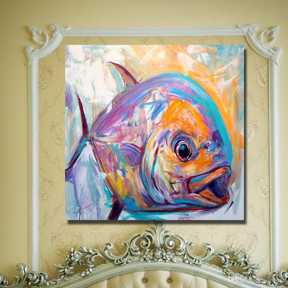 promotional items hand painted realistic animal fish oil painting home wall decor abstract canvas art