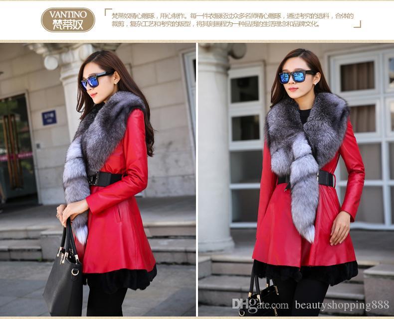 New Women's natural fox fur collar genuine sheepskin leather cotton-padded medium long sashes parka rex rabbir fur bottom coat casacos 4XL