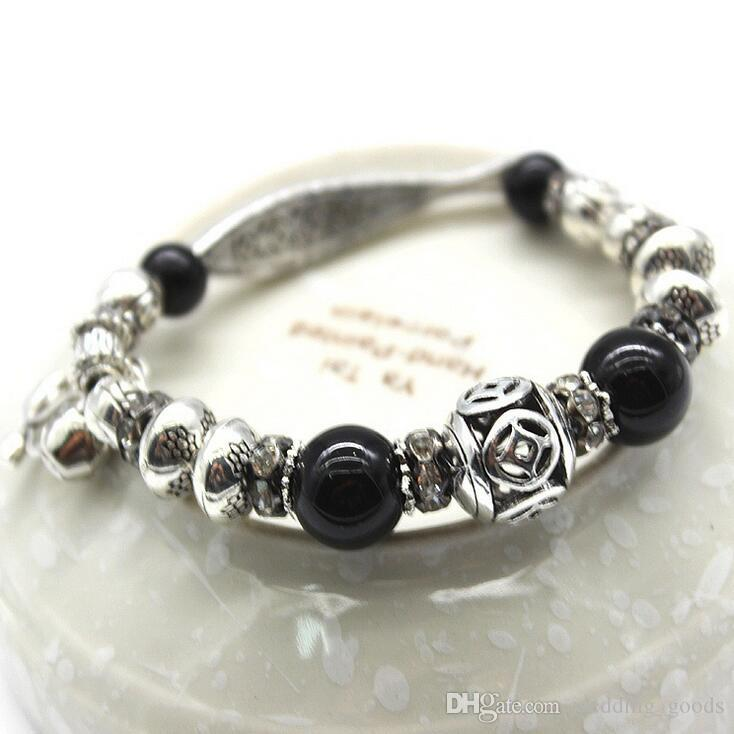 Natural agate crystal bracelet cat's eye stone hand string national wind hand Tibetan silver FB037 a Beaded, Strands