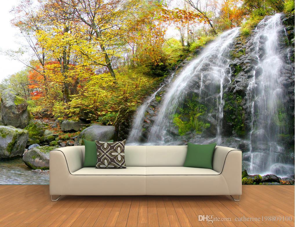 mountain forest waterfall 3d backdrop tv sofa frescoes mural 3d see larger image
