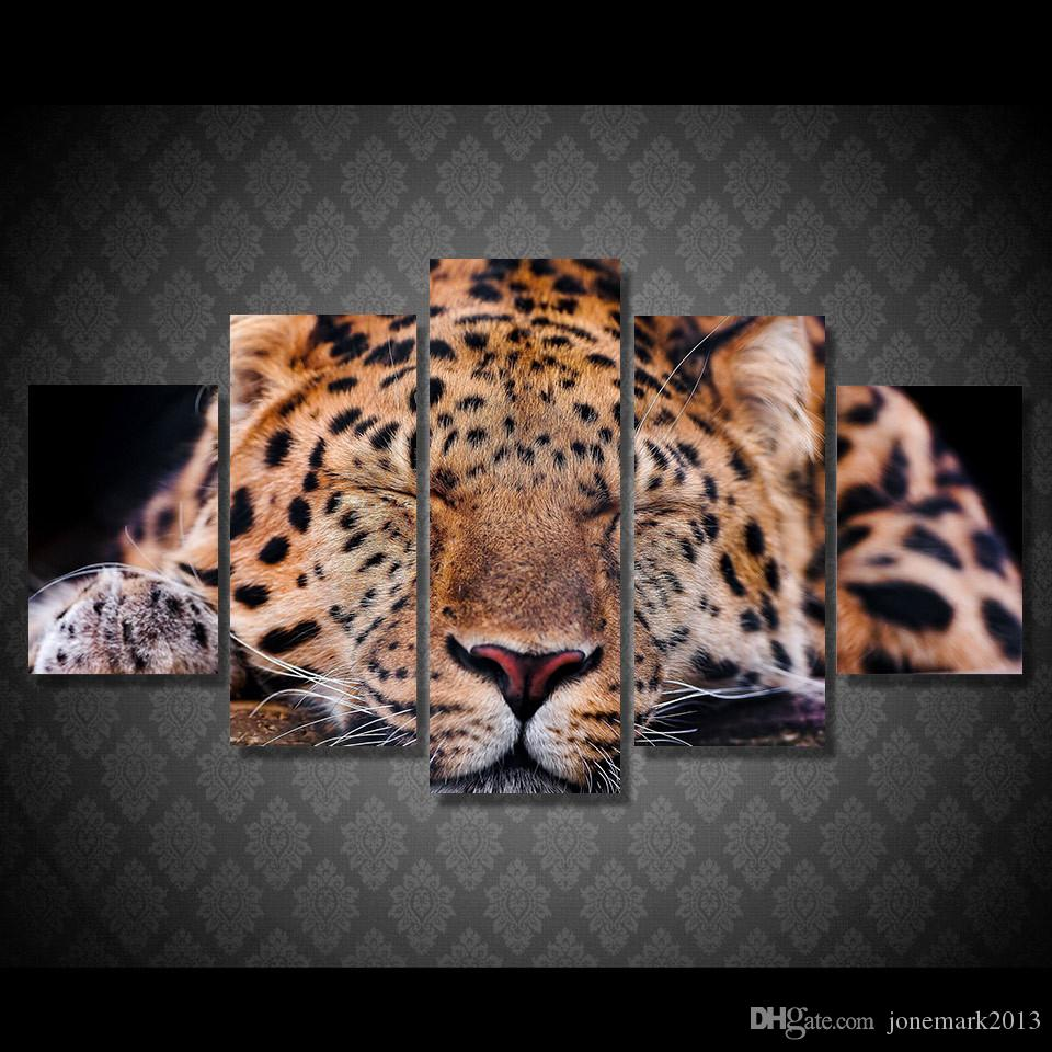 Framed HD Printed Animal Leopard Sleeping Picture Wall Art Canvas Room Decor Poster Canvas Abstract Oil Painting