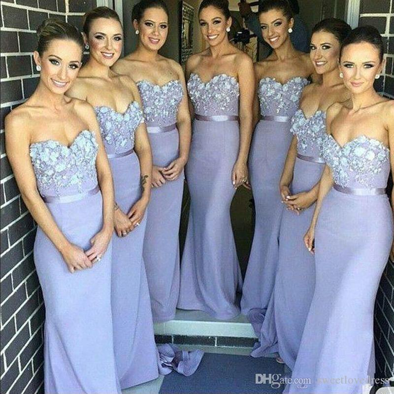 Elegant Lilac long bridesmaid dress mermaid strapless sweetheart appliques sweep-length sleeveless wedding guest Maid of Honor prom Dress