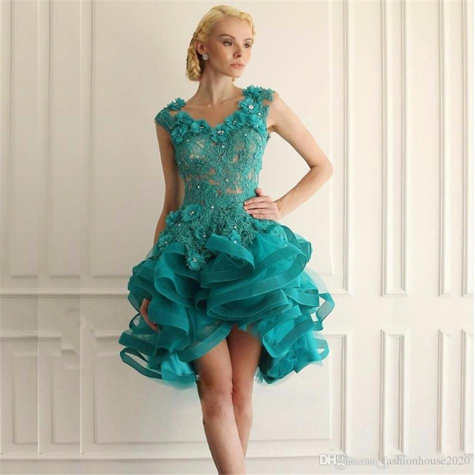 Sexy Turquoise Short Lace Prom Dresses Appliques Handmade Flower Sexy Tulle Backless Prom Party Dress Formal Evening Gowns Custom Design