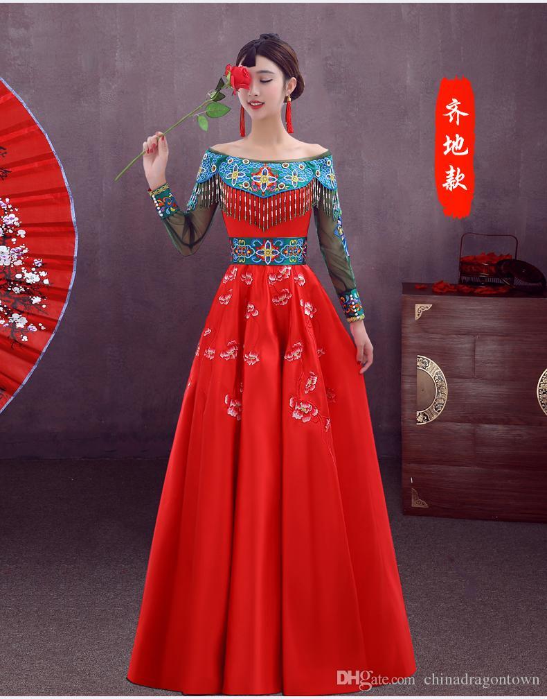 Estilo chino Cheongsam rojo mujeres vestidos de baile dulce vestidos de noche formales desgaste del desfile para la fiesta larga vestido elegante de la vendimia para el verano