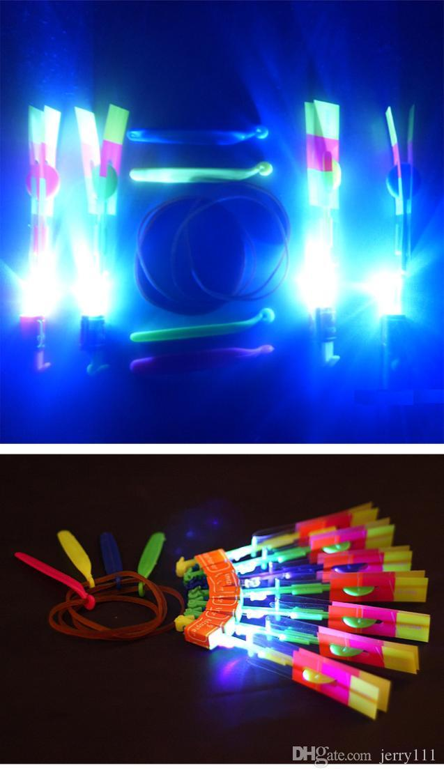 HOT LED Magic Toy Rubber Band Helicopter Flash Arrows Flying Umbrella Flash Mushrooms Rotating Flying Toys A91