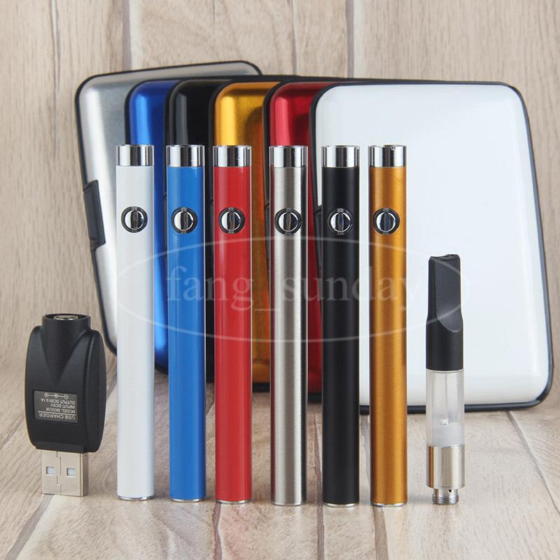 New Slim Manual Button Vape Pen Starter Kits Plastic Case Thick Wax Oil Vaporizer Cartridges Atomizer Clearomizer 510 Thread 280 mah Battery