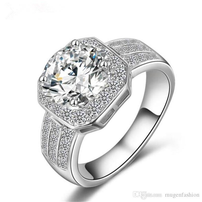 35ef850435c6 Compre Nueva Moda Gran Anillo De Bodas De Diamante De Circonio Cúbico Oro  Blanco Anillos De Compromiso De Cobre Para Las Mujeres Joyería Fina  Dropshipping A ...