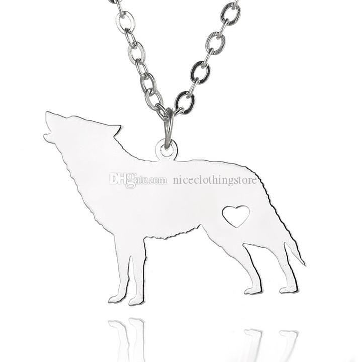 Fashion Stainless Steel Animals Pendant Necklace Gold & Silver Plated Northern Europe Wolf Necklaces With Love Heart Fine Jewelry