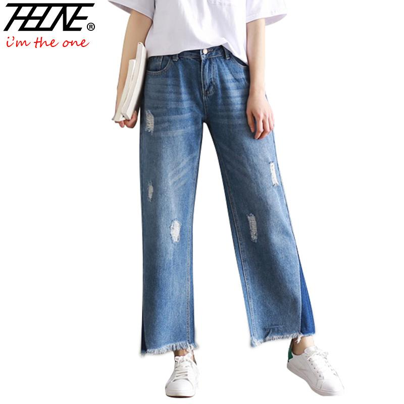 68f5075feb593 2019 Wholesale THHONE Designer Denim Pants Jeans Women Trousers Loose Slim  Plus Size Wide Leg Pants Vintage Tassel Ripped Flare Jeans Female From ...