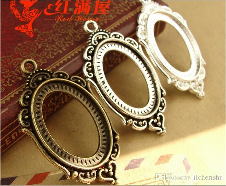 Fit 25*18MM fashion oval metal stamping blank tray, vintage gold antique bronze pendant base, tibetan silver bezel cameo cabochon setting