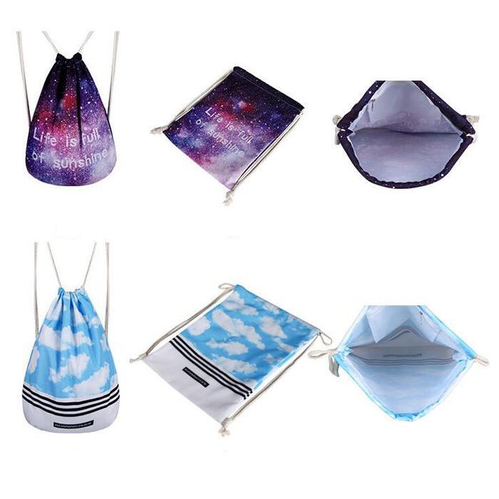 Pink Stripe Diamond Flower Printing Backpack Drawstring Bag for women men Fashion Backpack style DHL