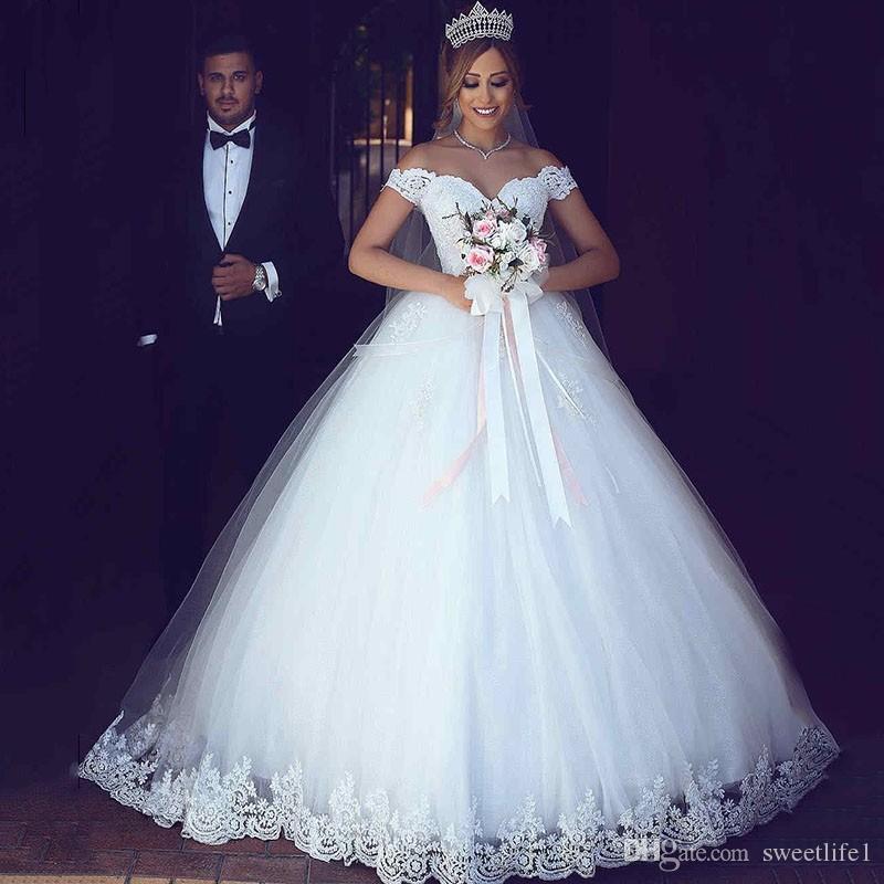 Dubai Arabic Off The Shoulder Wedding Dresses 2019 Appliques Lace Petticoat Ball Gown Sweep Train Bridal Gown Custom Made
