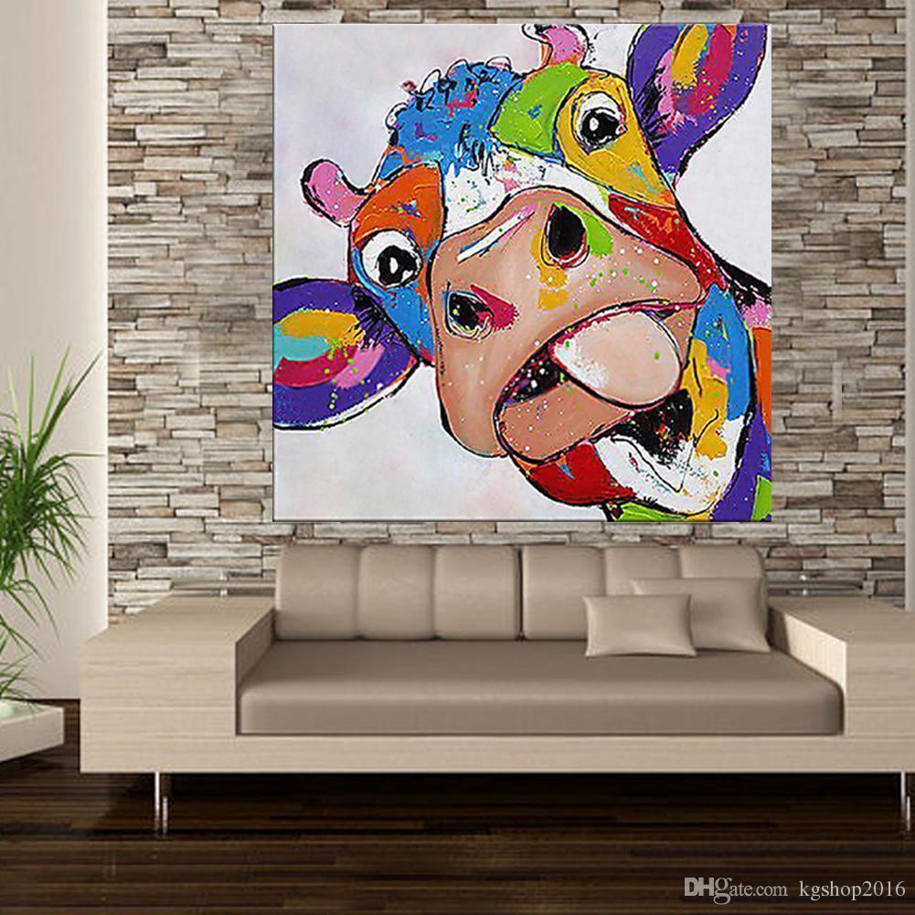 Satin Al Kagree Renkli Inek Kafa Boyama Sevimli Hayvan Resimleri