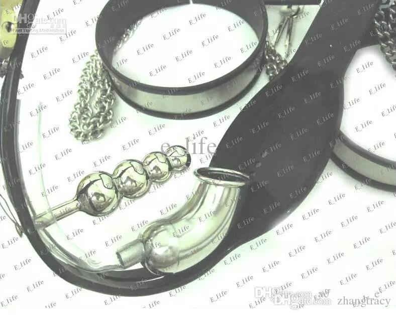 Horoz Kafes Üretra + Yaka + Kelepçeler + Uyluk Manşetleri + Ayak bileği Manşetleri + Anal Plug + Bra ile Yeni Erkek T-tipi Bekaret Kemeri BDSM Iffet Cihazı