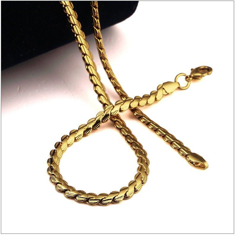 Hip Hop Медь Singel цепи с цепью Мужчины ювелирные изделия шнурка золото покрыло 50см Украшения для мужчин / женщин Упаковка