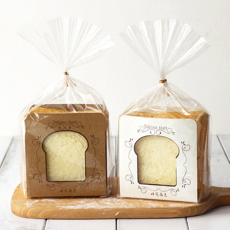 Toast Bread Packaging Bags Baking Paper Insert Transparent Bag with Rope Clear Plastic Bag for Gift Packaging 20pcs/lot