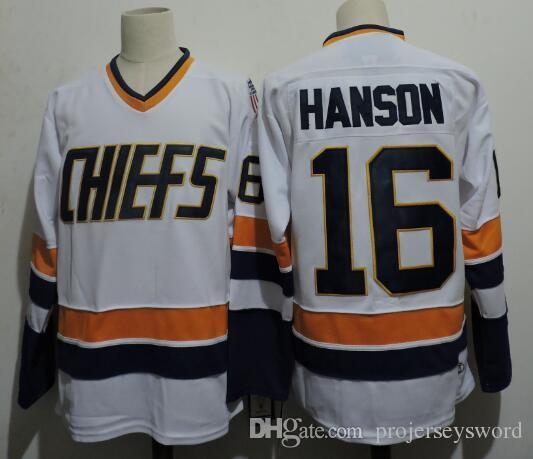 #7 Reggie Dunlop Charlestown Chiefs Jersey Brother Slap Shot 16 JACK HANSON 17 STEVE HANSON 18 JEFF HANSON Movie Hockey Jerseys Blue White
