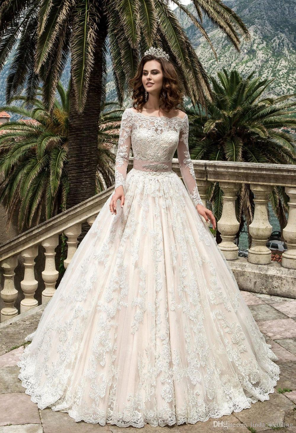 2017 Stunning Full Sleeves Lace Ball Gown Wedding Dress Vintage Bridal Gown  Plus Size Custom Made Vestido De Noiva Classy Wedding Dresses Designer  Bridal ... e5a71df9a1e4