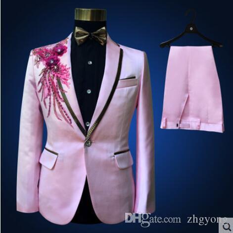 partito jacket + pants + bow tie + belt prom di nozze dello sposo abiti da uomo di moda nero abito formale fiore costumi sottili blazer blu rosso