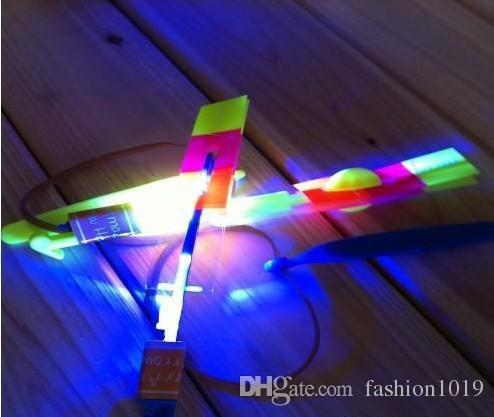 Wholesale - LED Amazing flying arrows helicopter umbrella light parachute kids toys with opp bag DHL FEDEX