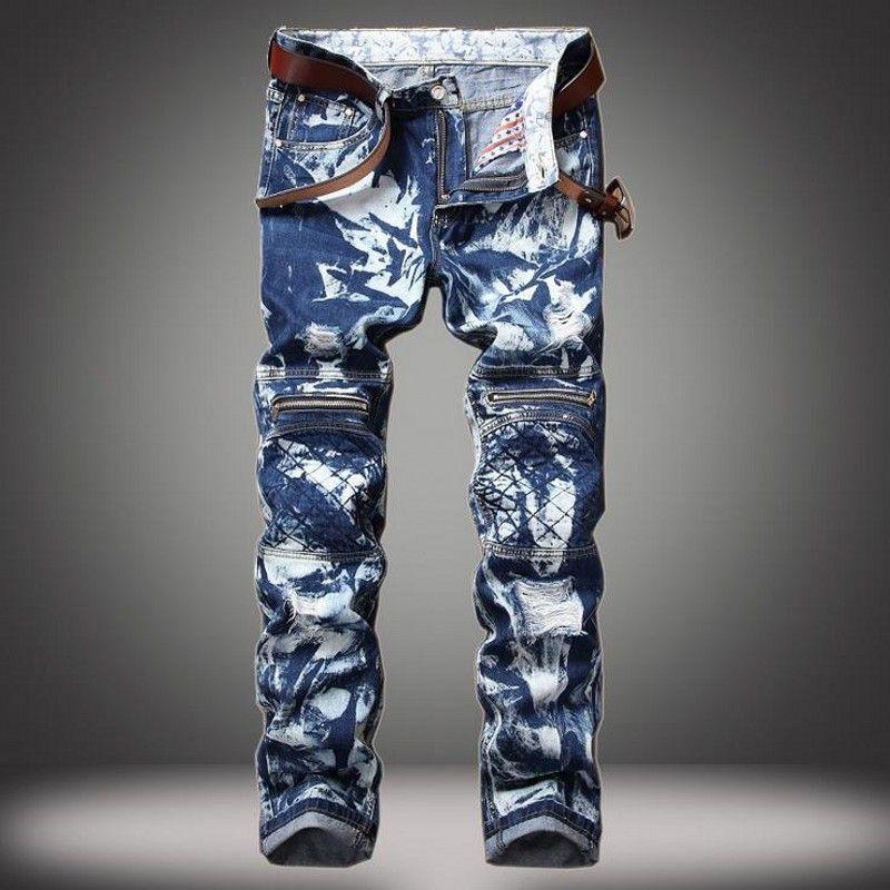df5e5781e2 Compre Hombre Slim Fit Hop Herren Jeans 2017 Nuevos Hombres De La Moda De  Los Pantalones Vaqueros Rasgados Personalidad Slim Fit Pantalones Para Punk  Homme ...