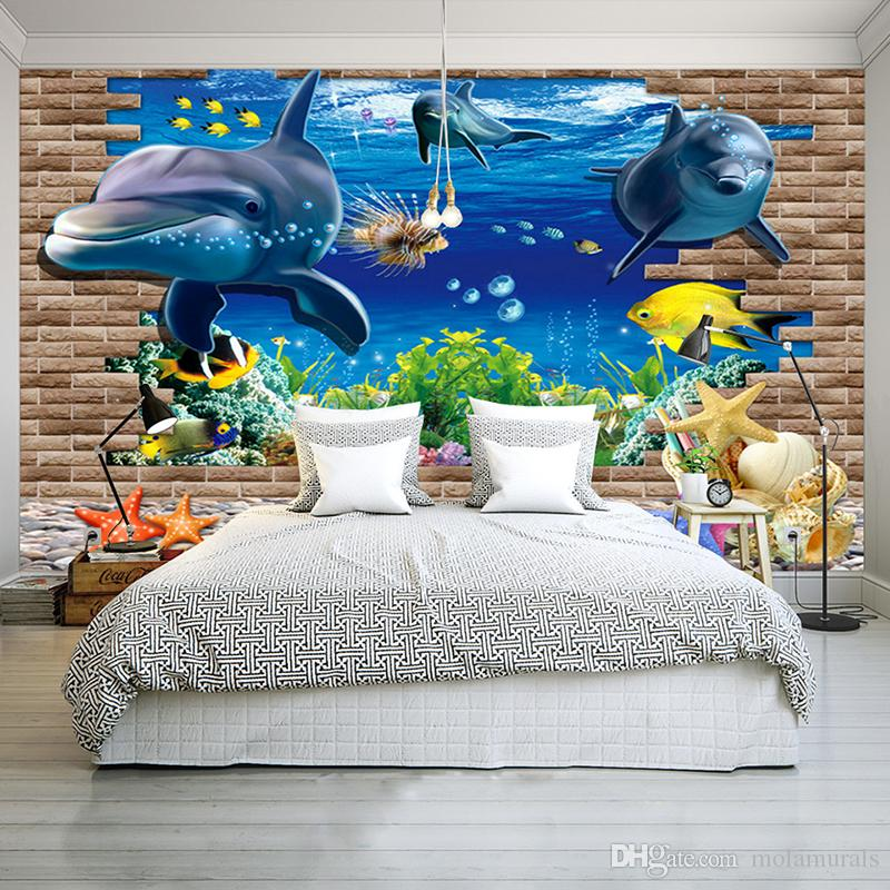 3d wallpaper mural 3D seabed fish Wall Sticker nursery wall decor tattoos Baby Fish Ocean Underwater World Wallpaper Home Decor