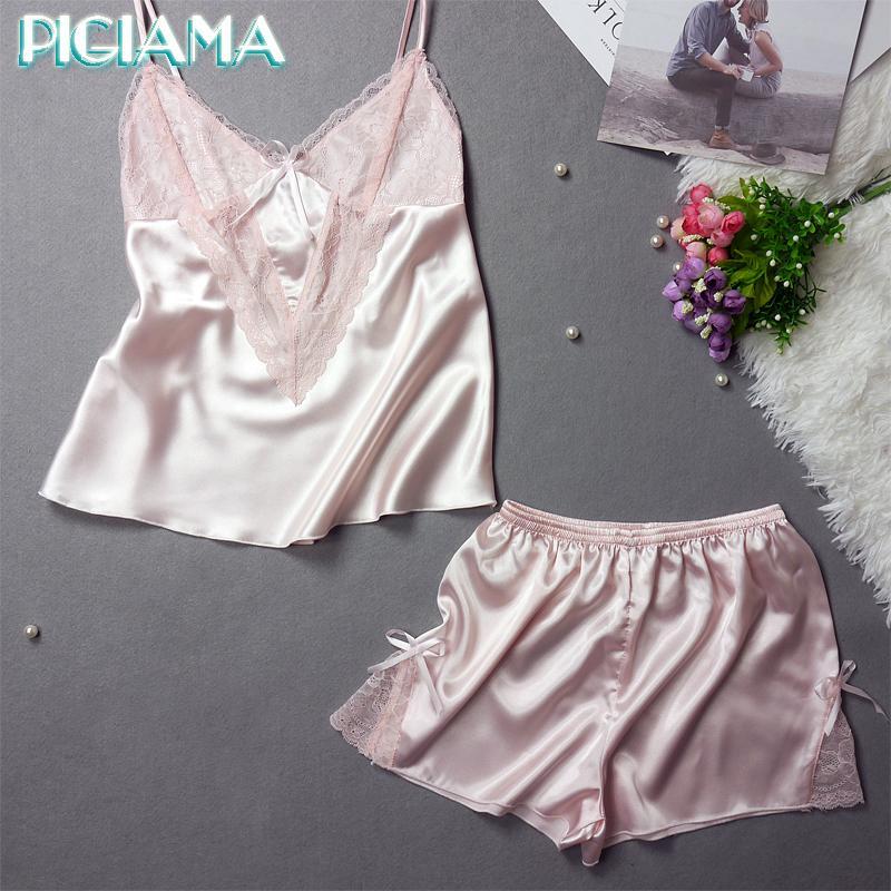 758efe44f0 2019 Wholesale PIGIAMA Women Pajama Sets Sexy Lace Silk Bathrobe Women S  Sleepwear Two Piece Pajamas Pyjama Set Straps Lingerie Homewear From Rebecco
