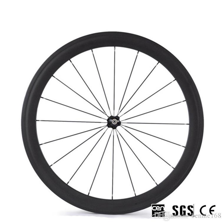 Hot Sale 700C 50mm Depth 23mm Width Wheelset Straight Ceramic Bearings Hubs Full Carbon Road Bicycle Bike Wheels Black Spokes Free Gifts