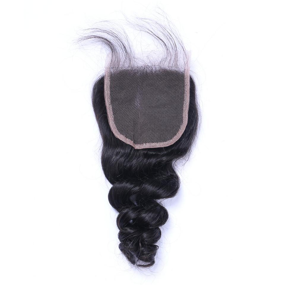브라질 느슨한 웨이브 인간의 레미 4x4 레이스 클로저와 머리 짜기 표백 된 매듭 100g / pc 자연 색상 더블 Wefts 헤어 확장