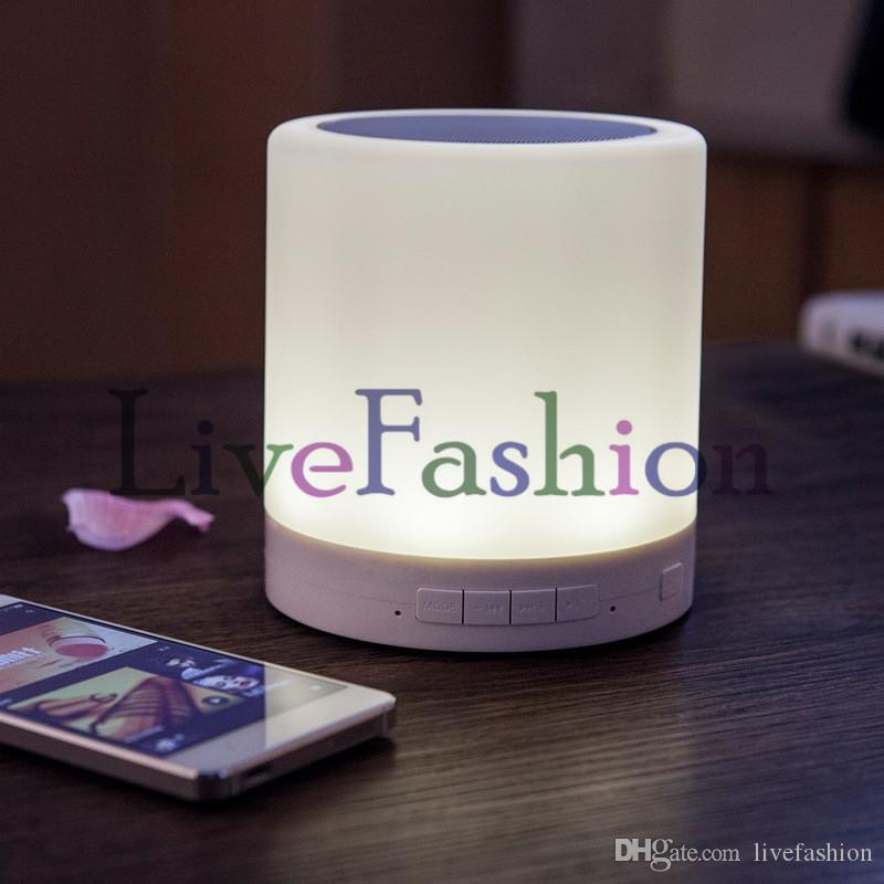 Smart Wireless Bluetooth Speaker Stereo Touch Sensor Bedside Table Lamp Decor LED Dimmable Night Light Portable Music Player TF Card Slot