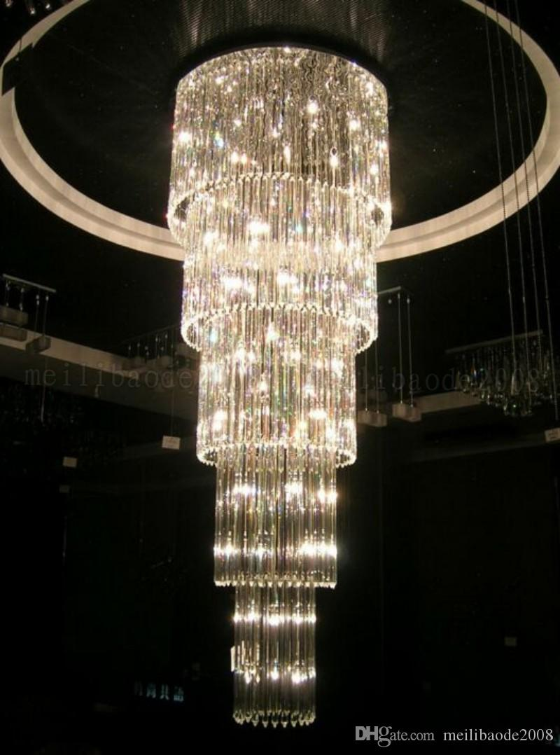 NEW Crystal Glass Ceiling Light Fixture Large lustre de cristal lamp for staircase, stairs, Crystal Stair Lamp for hotel and project MYY