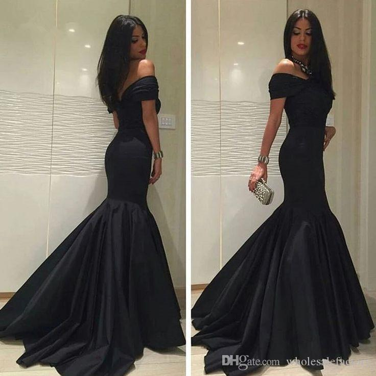 2017 Elegant Black Arabic Party Evening Gowns Sexy Off Shoulders Mermaid Prom Dresses Long Ruched Celebrity Occasion Gowns Custom Made