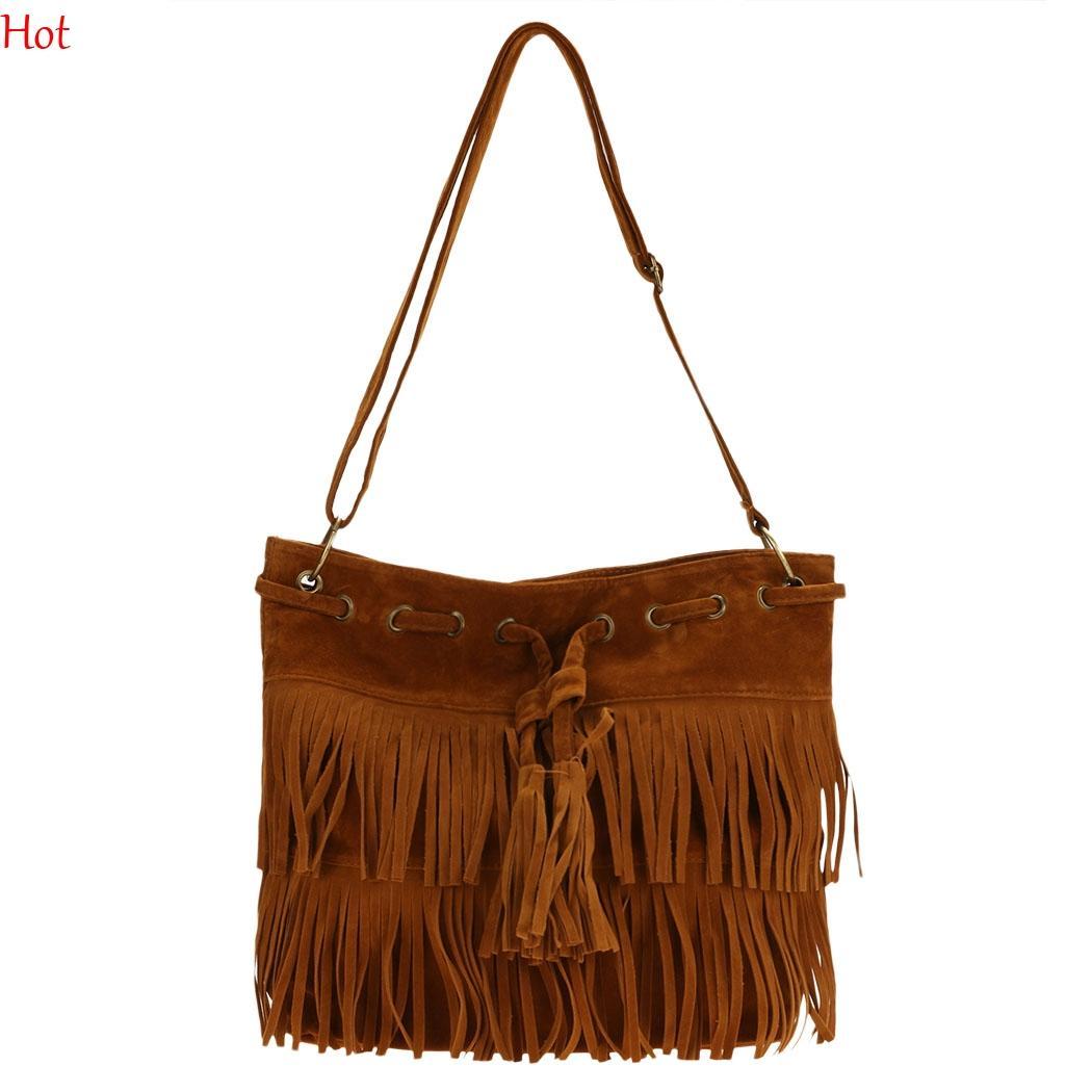 1a56c87537 Women Messenger Bags Faux Leather Suede Handbags Fringe Tassel Shoulder Bag  Female Bolsas Fashion Korea Cross Body Bag Brown Black SV013740 Fashion Bags  ...