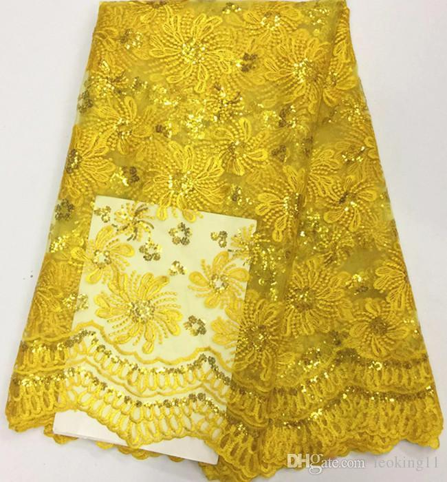 5 Y / pc popular bordado azul real tela de encaje neto francés con lentejuelas flor de encaje de malla africana para la ropa BN60-2