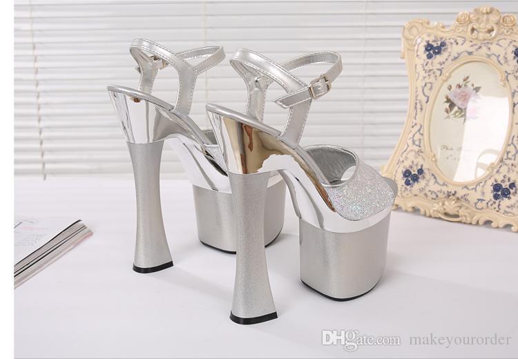 Grossiste livraison gratuite prix usine mode ruban couleur peep toe 18cm club de talon talon haut femmes sandales 180