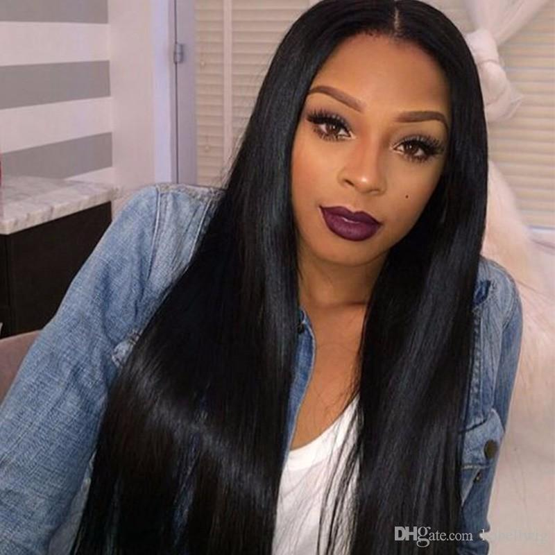 FULL LACE WIG Shoelaces Human Hair 100% Brazil Black Women No Tail Straight Virgin Hair Full Lace Wigs Top Silk Is Full Of My Wig # 1 Kabell
