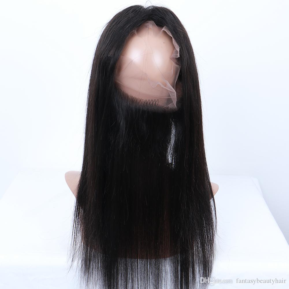 Pre Plucked 360 Full Lace Frontal Closure Peruvian Straight 100% Human Hair with Baby Hair Natural Hairline