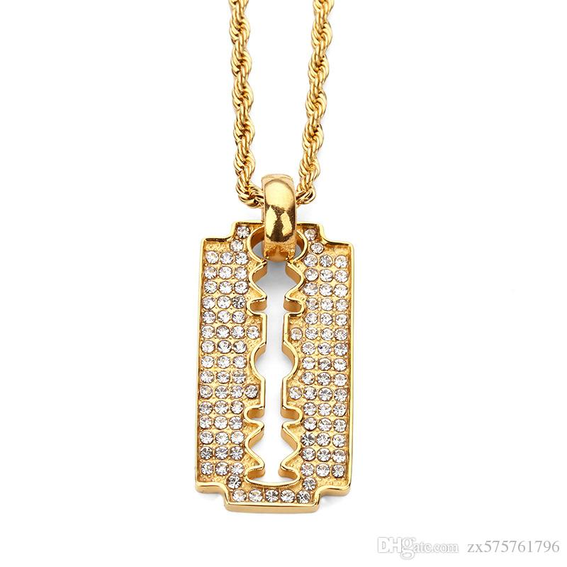 Wholesale fashion men hip hop necklace razor blade pendants for wholesale fashion men hip hop necklace razor blade pendants for necklaces 18k gold plated stainless steel 60cm long chain full rhinestone jewelry wholesale thecheapjerseys Choice Image