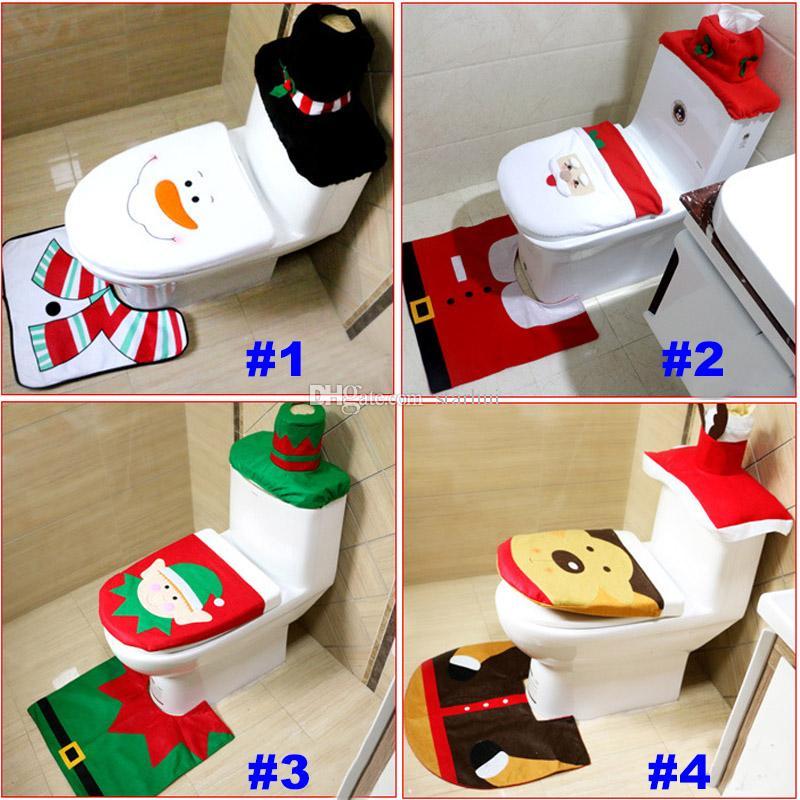 WC Sitzbezüge Weihnachtsdekoration 3 Teile / los Santa Elk Elf WC Sitzbezüge Teppich Hotel Badezimmer Set Weihnachtsgeschenk Lieferungen WX9-91