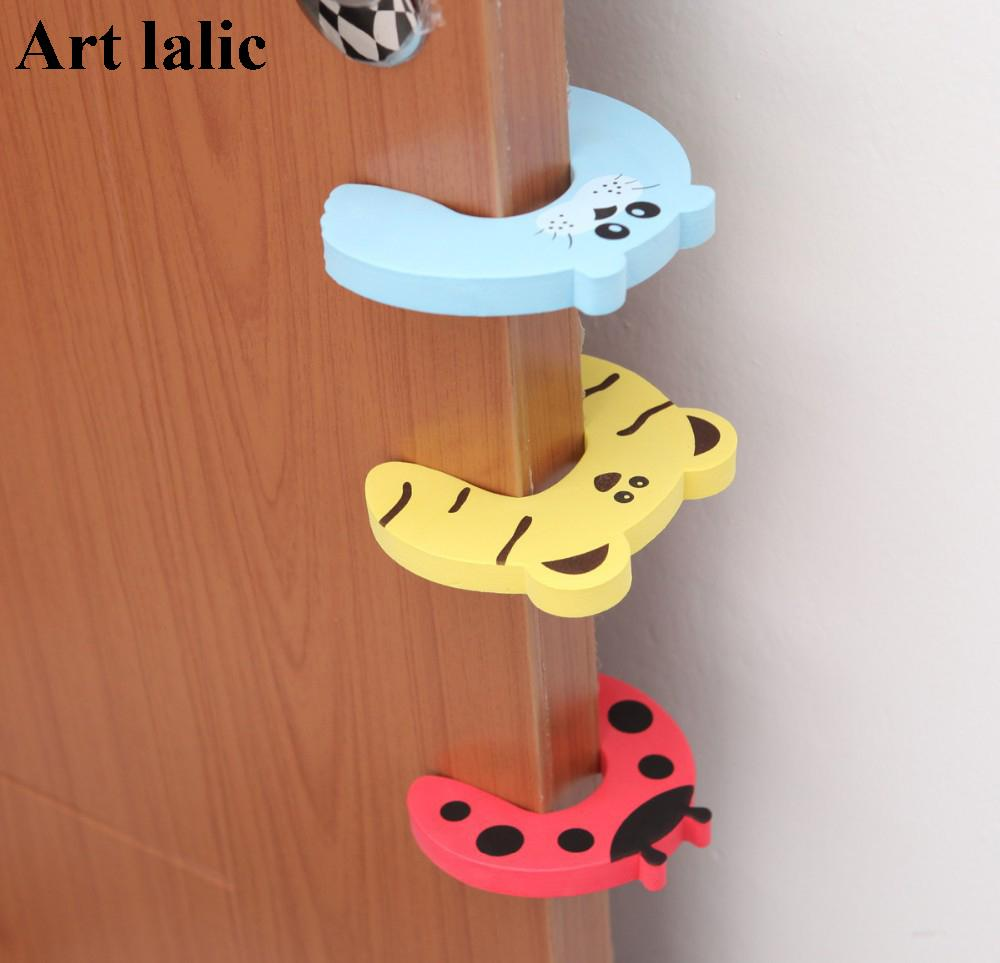 Wholesale- 1Pc Cute Baby Beetle Door Stopper Safety Finger Guard Protector  Animal Cartoon Design Safe