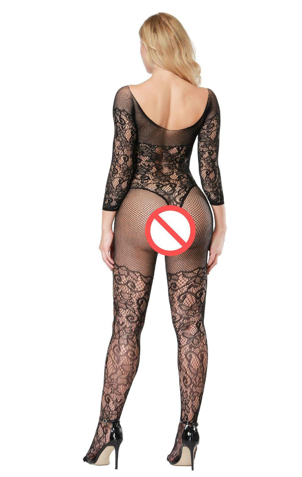 Seksi Sıcak Kadınlar Lingerie Bodystocking Bodysuit Kadınlar Sexi Kostüm Lenceria Açık Crotch Babydoll Uzun Kollu Erotik Fishnet