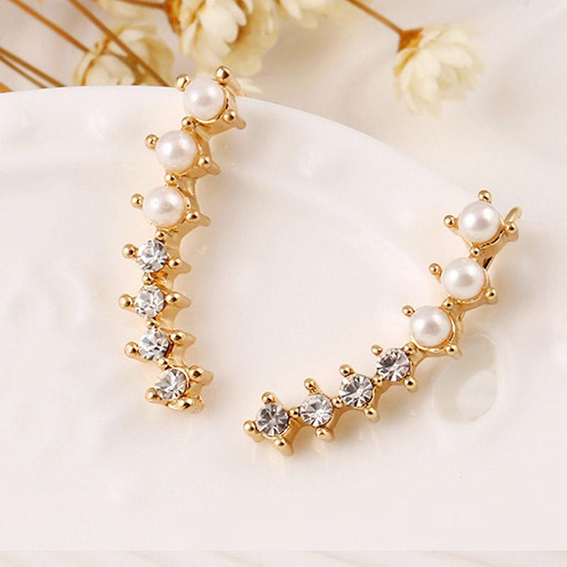 Bing Tu Simulated Pearl Ear Cuff Earrings One Pair Newest Moon Design Shiny Zircon Piercing Clip On Earings