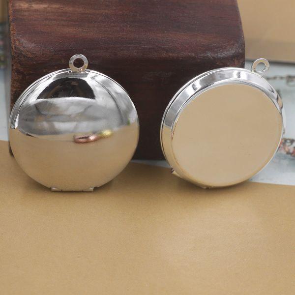 36*31*7.5MM DIY Silver/antique bronze/rose gold/black gun round Rouge box photo locket charms jewelry, metal picture frame pendants wish box