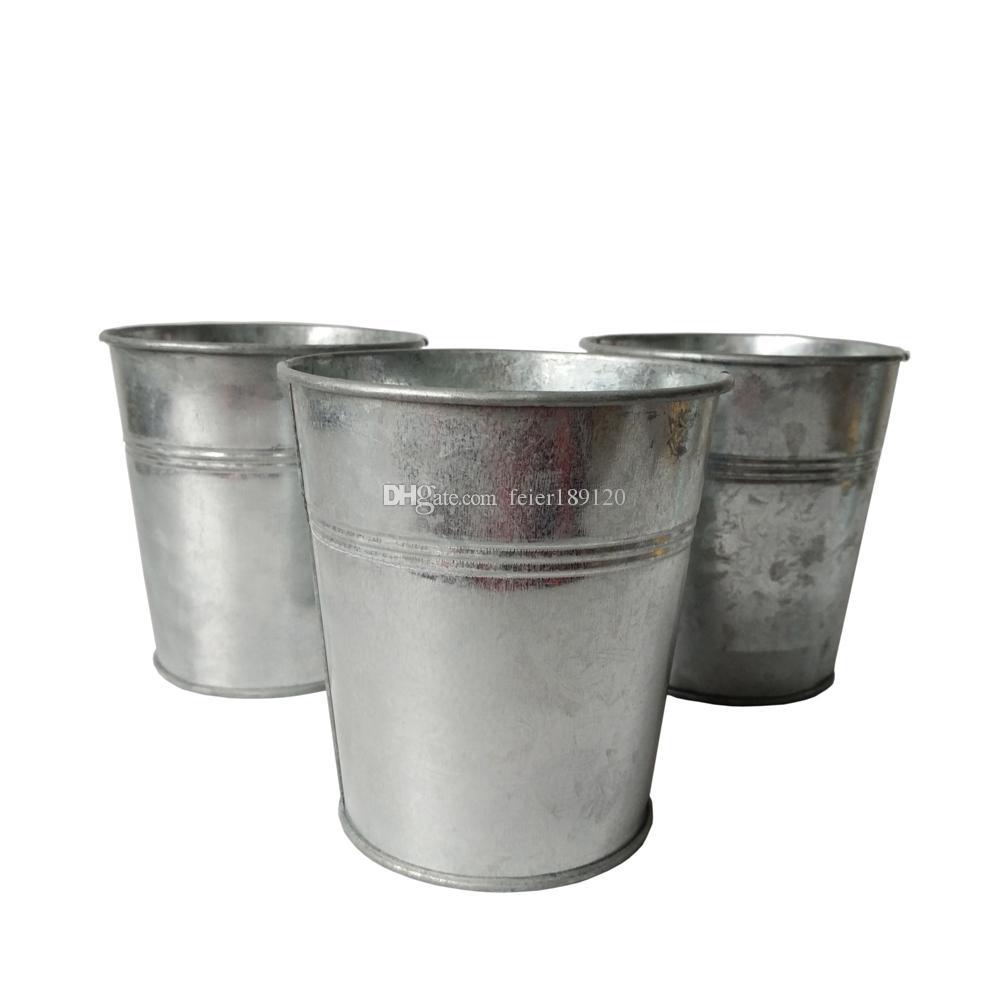 garden bucket. D10.5XH11CM Round Metal Garden Bucket Iron Meat Plant Planter Pots Pure Silvery Color Succulent Mini Planters Nursery Pot Online D